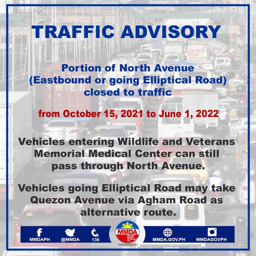 Bahagi ng North Avenue upang Magsara para sa Konstruksiyon ng MRT-7 Hanggang Hunyo 2022
